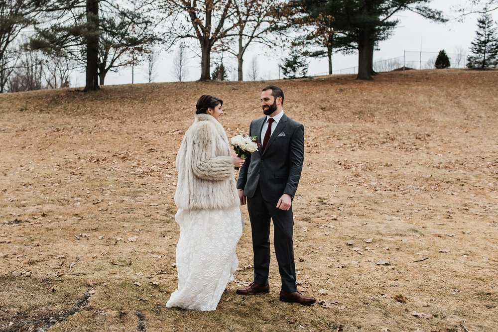 wedding first look in lowell park