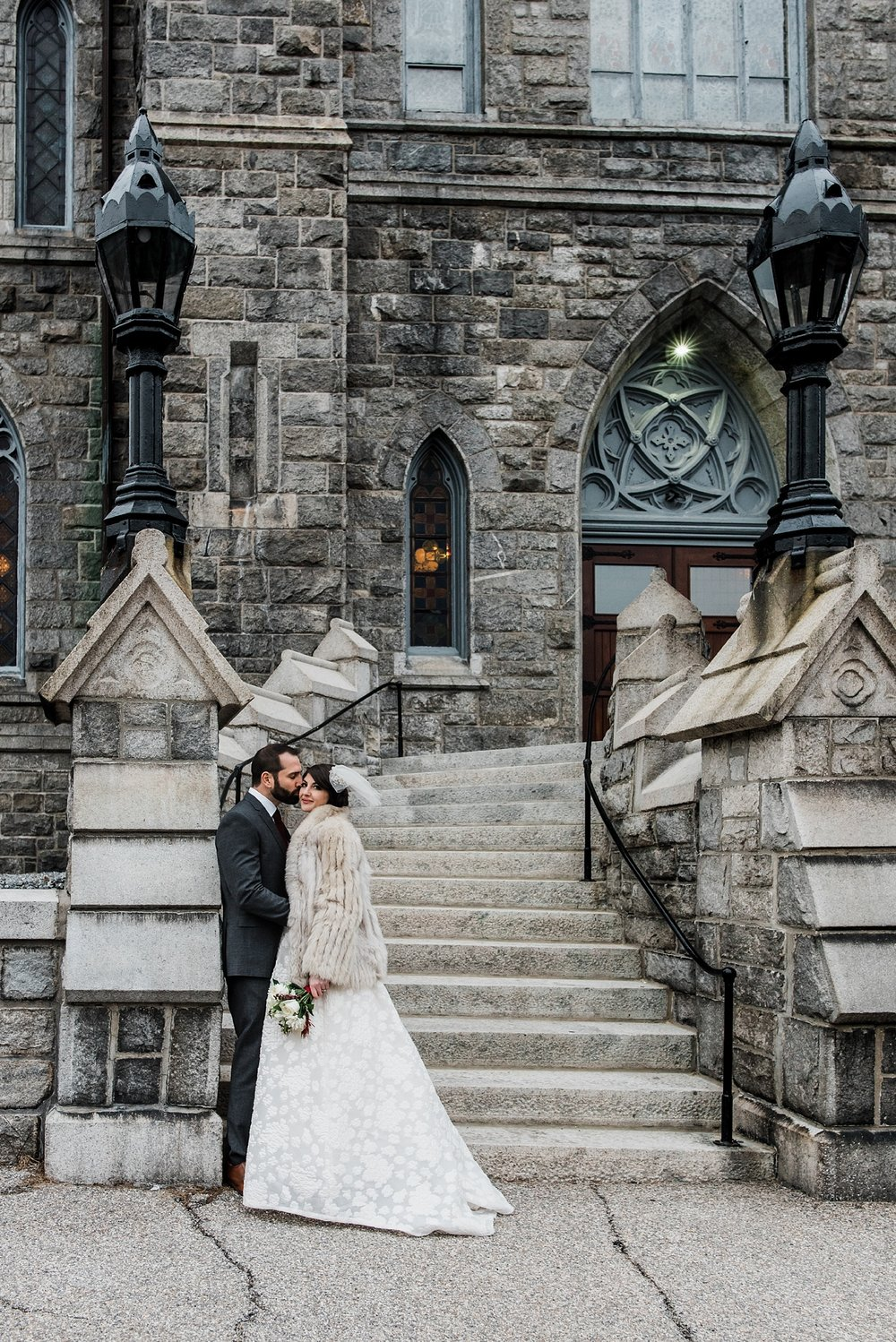 bride and groom photo on immaculate conception church steps