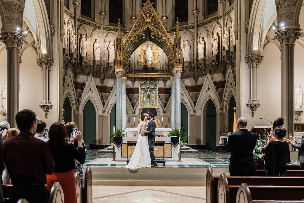 first kiss photo in beautiful historic church