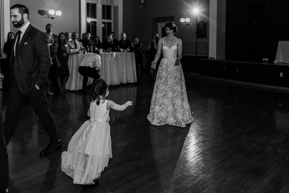 flower girl and bride wedding reception photo