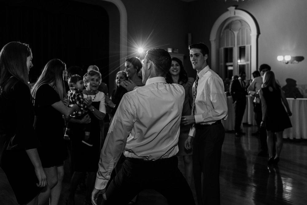 fun dancing photo during wedding reception