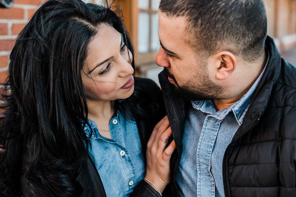 smiling couple engagement photo