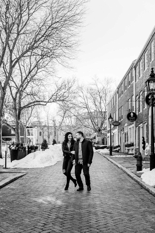 engaged couple walking in newburyport