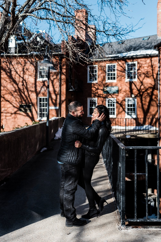 laughing boston couple engagement photo
