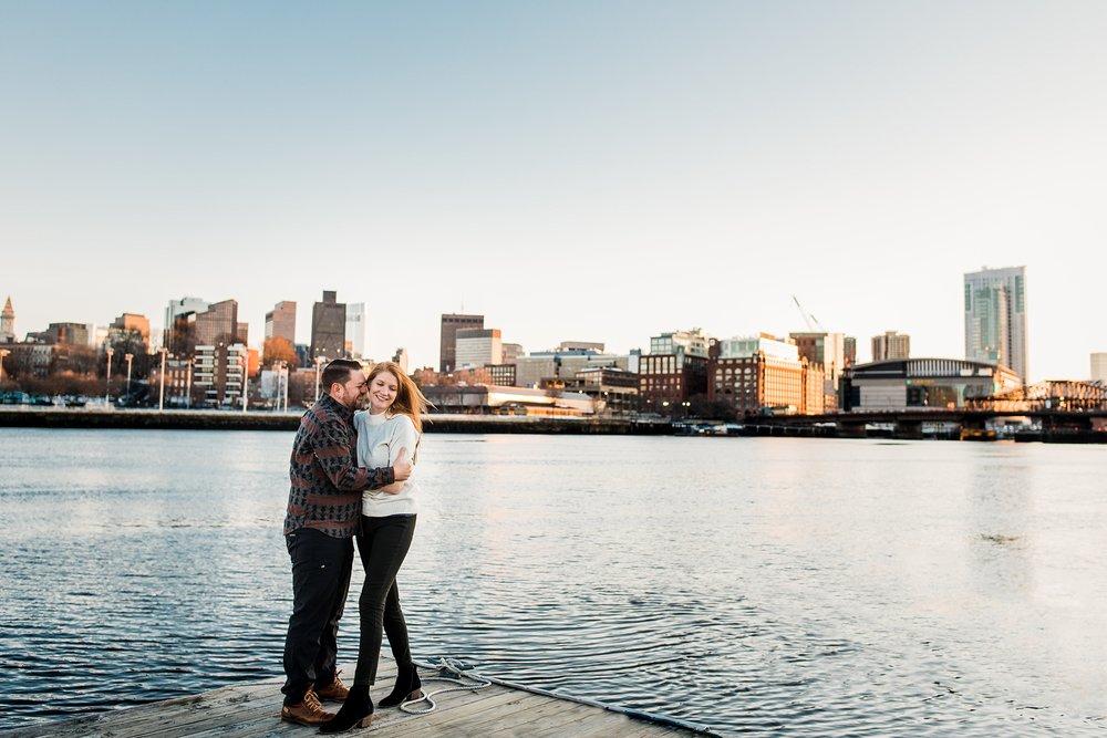 sunset engagement photo with boston skyline