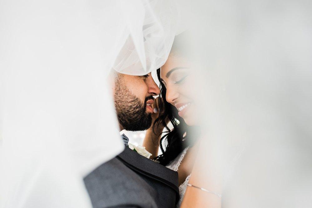 under veil wedding photo