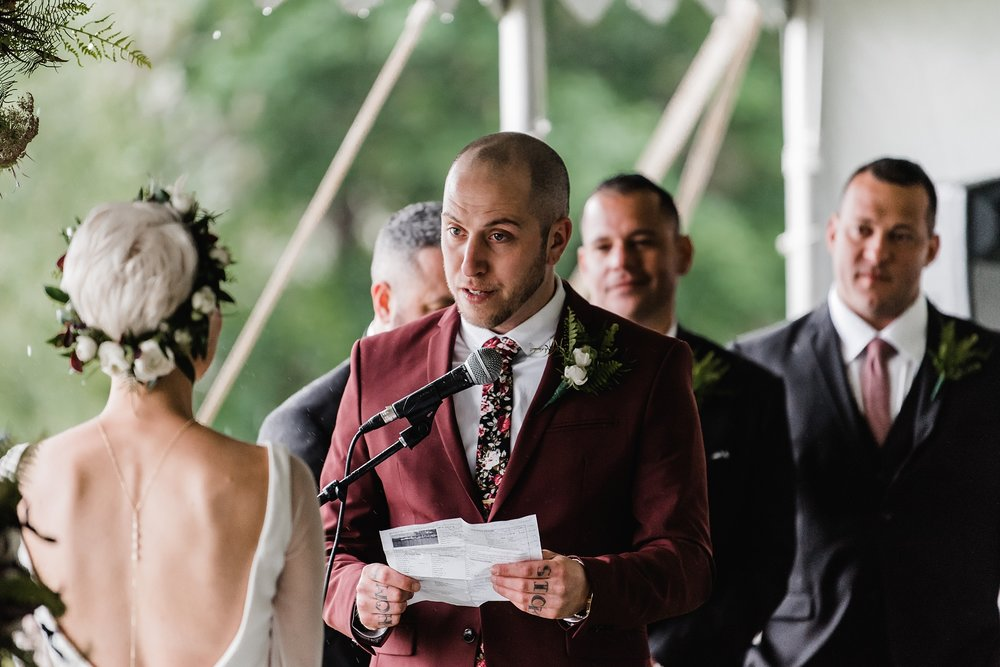 groom reading vows