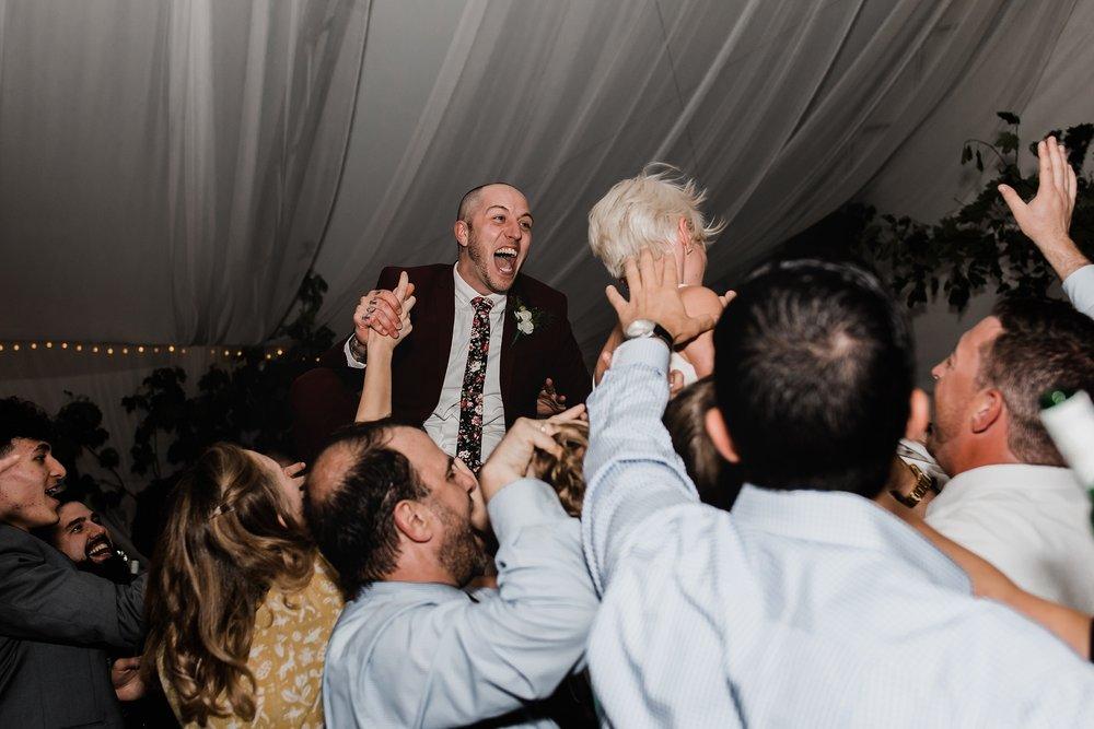 bride and groom reception fun