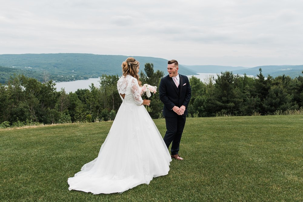 bride groom first look canandaigua lake