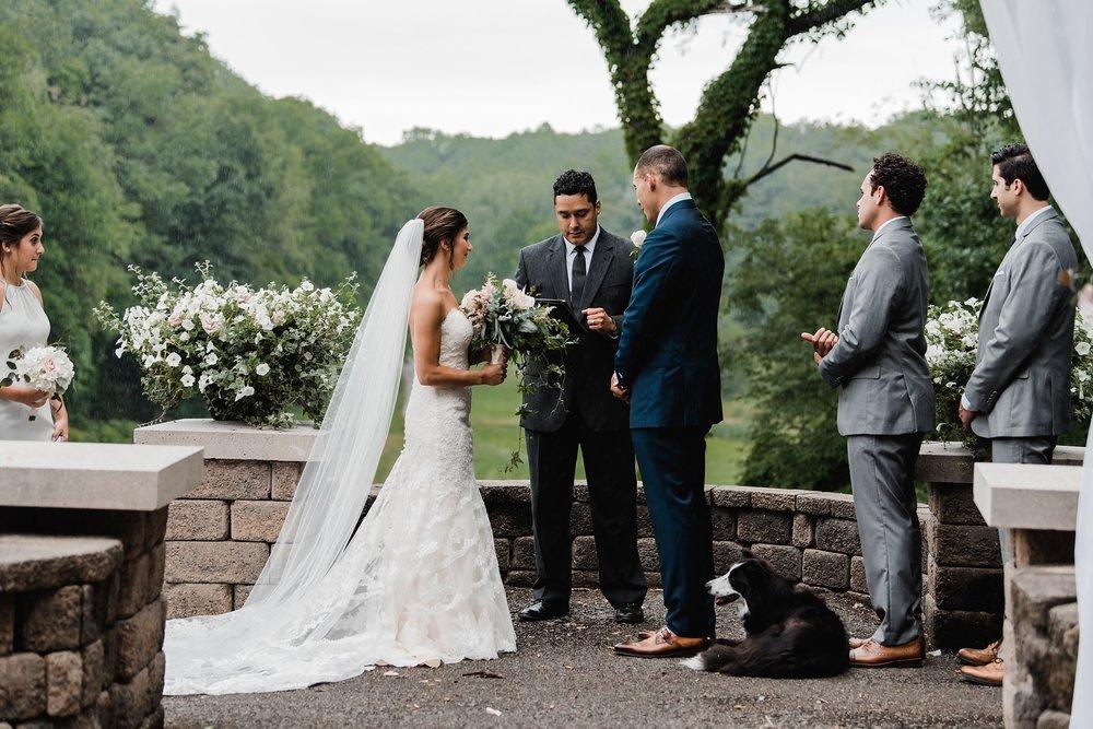 wedding ceremony in the rain