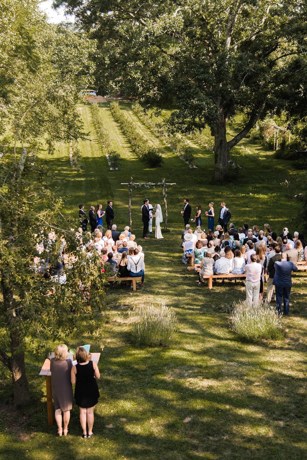 aerial view backyard wedding