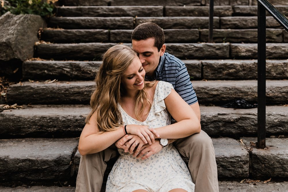 central park engagement photo stairs