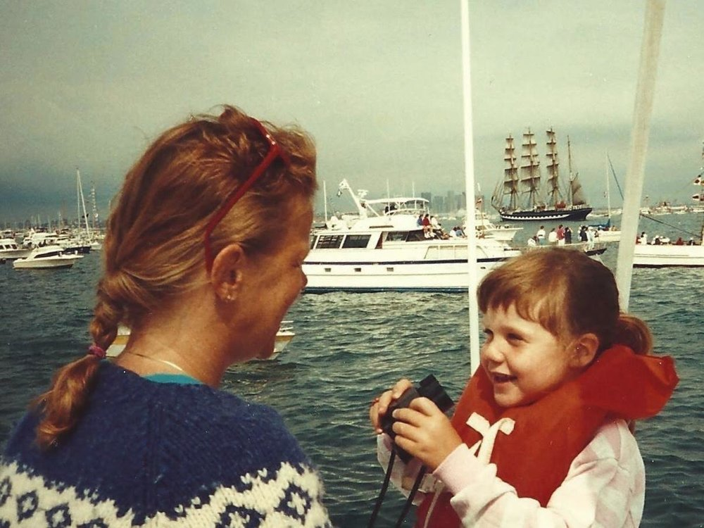 Baby Emily & Mooms. I love the ocean & boats.