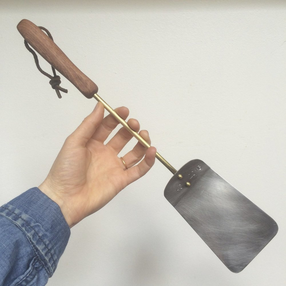 spatula (walnut, steel, brass) made in collaboration with Olle Lindberg