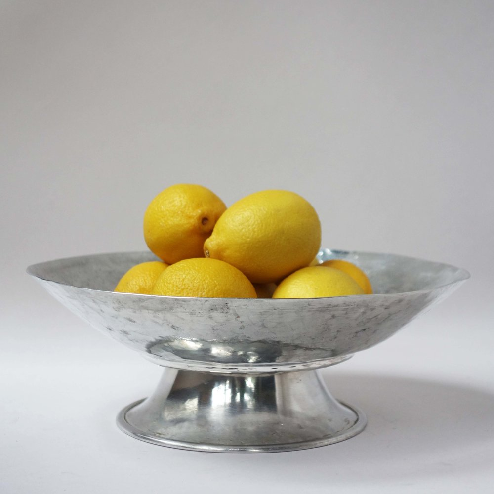 fruit bowl / oyster tray (modified 1950s aluminum dish)