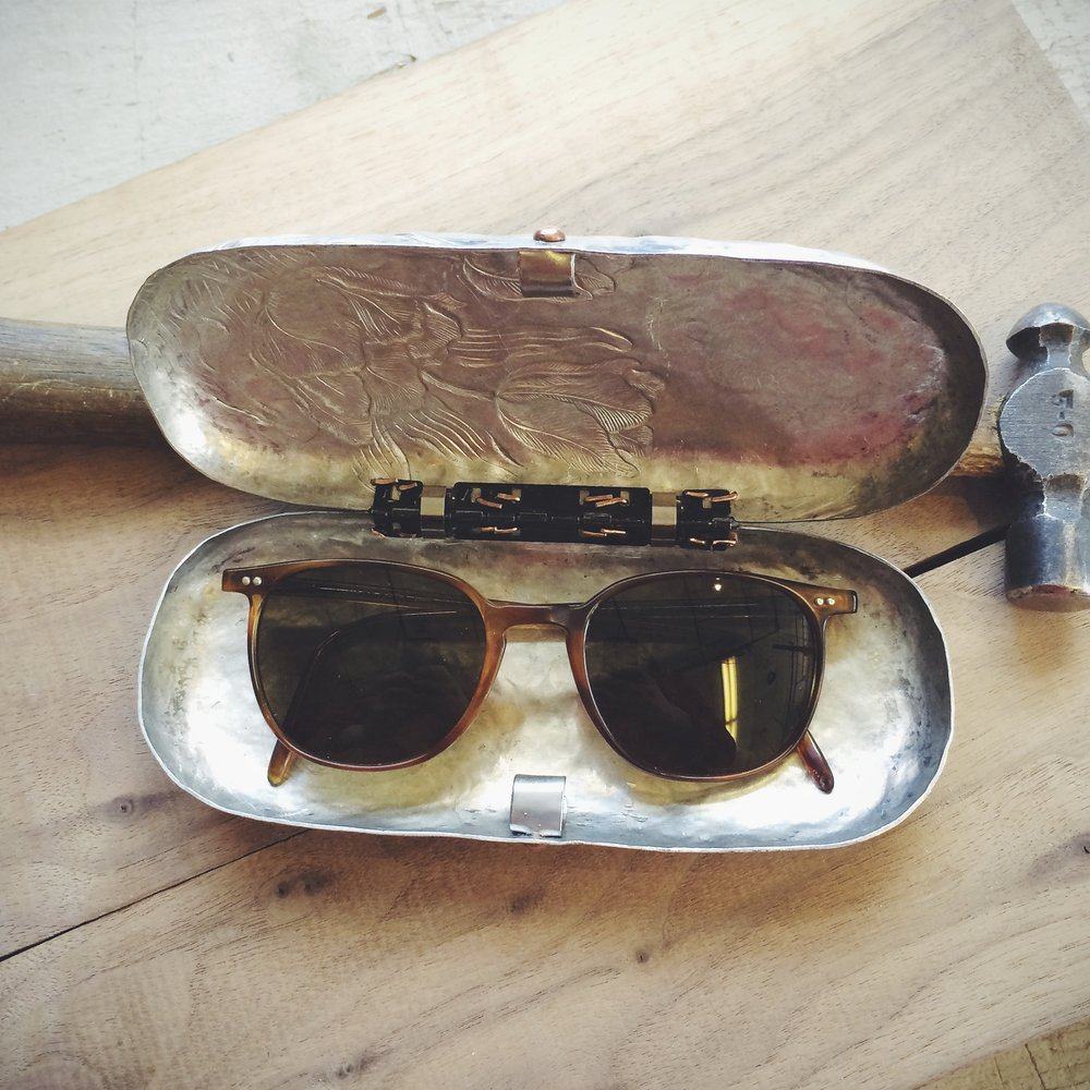 glasses case II (reclaimed 1950s aluminum dish)