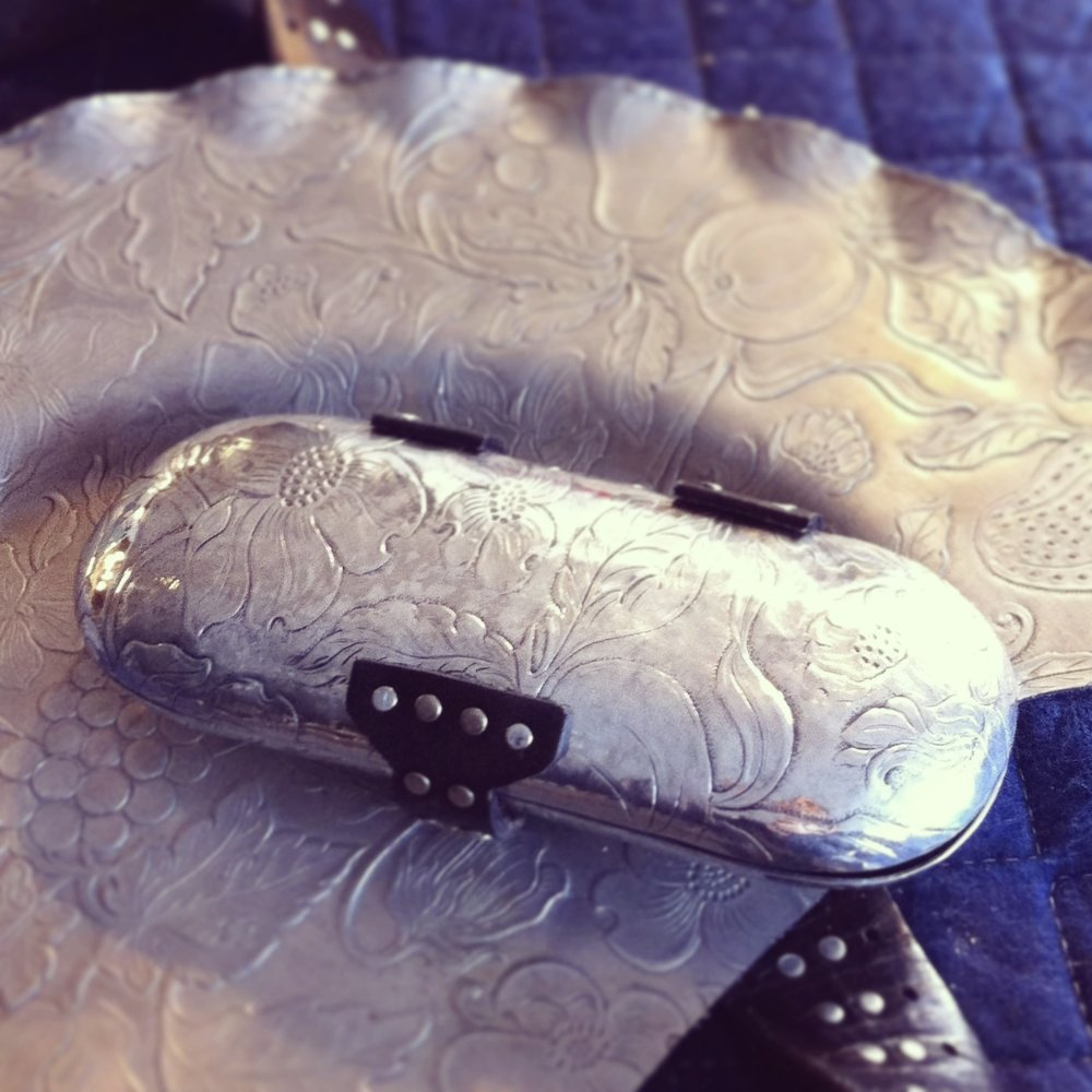 glasses case I (reclaimed 1950s aluminum dish)