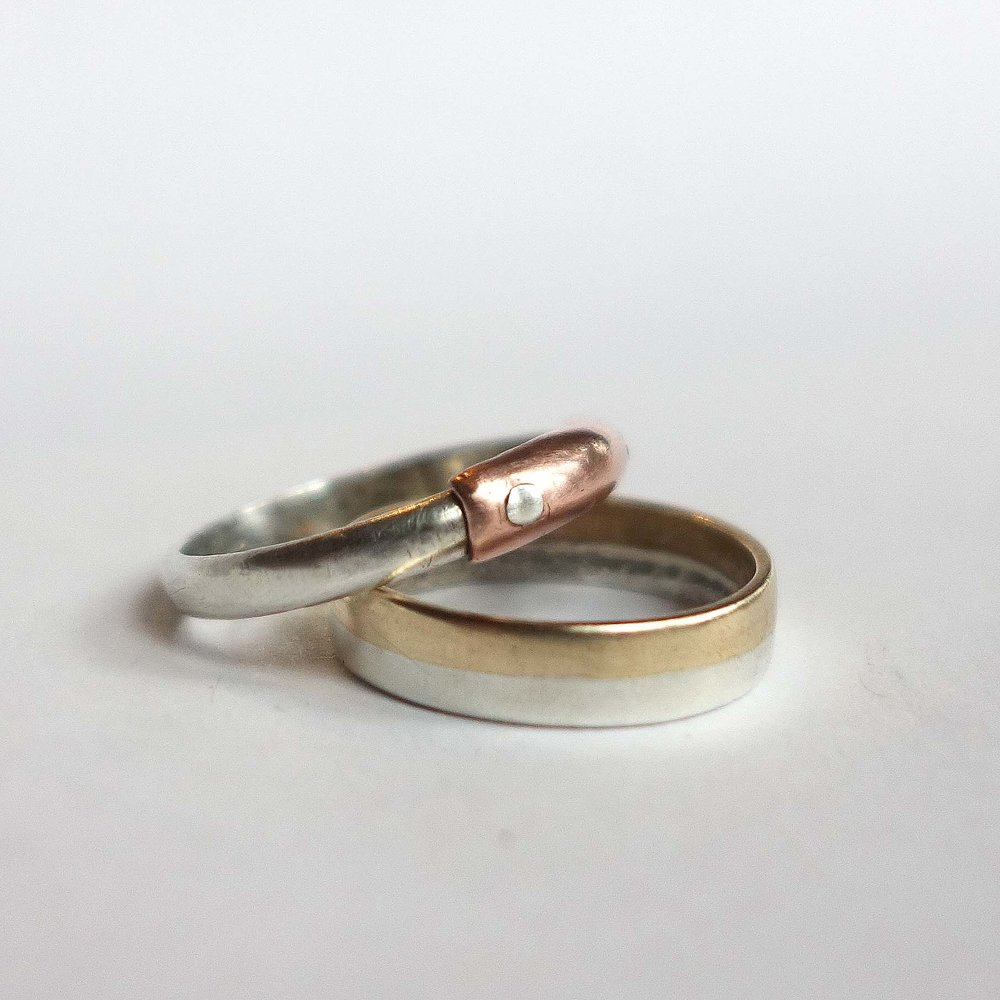 rings (silver & copper, silver & brass)