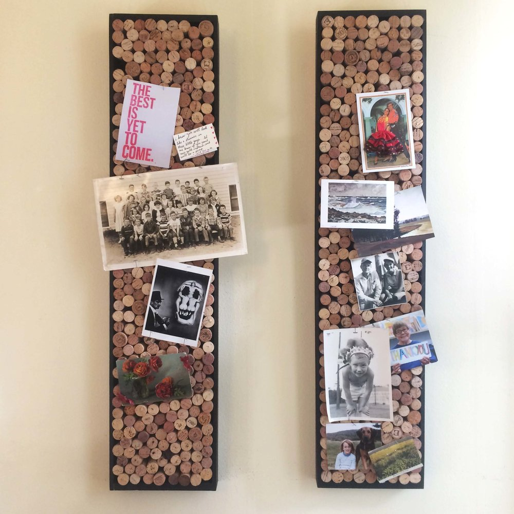 bulletin boards (recycled wine corks in painted wood frames)