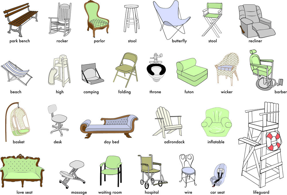 Vector illustration of 27 chairs. Old work.