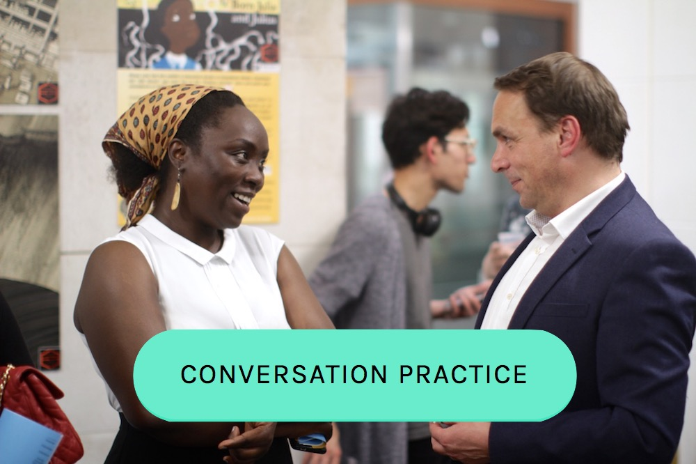 Sudanese Arabic tutor Hekma speaking with Head of Languages at SOAS at our impact party at the university in April 2017 copy.jpg