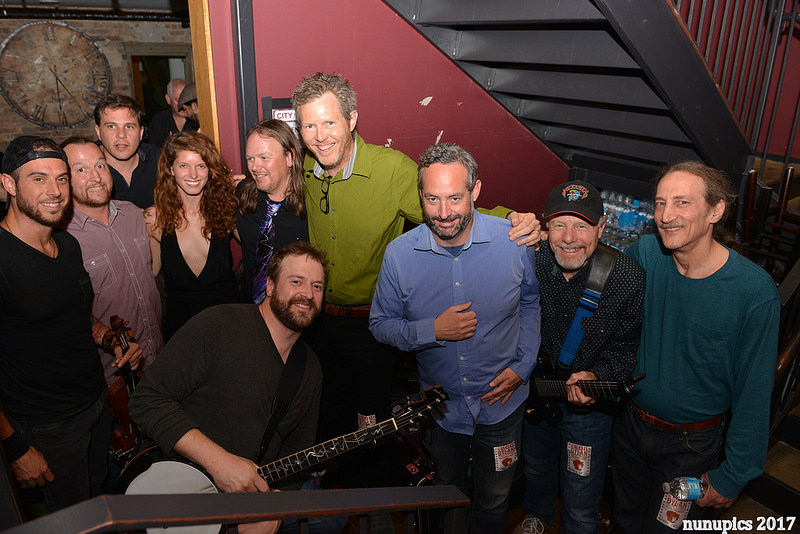Backstage at the City Winery Chicago, June 2017. L to R: Phil Roach, Greg Fundis, Chris Gangi, Kara Cavanaugh, Dewey Paul Moffitt, Robbie Fulks, Mike Racky, Steve LaZar, Kevin Rosen; FRONT: Pete Smith. Photo by John Nunu Zomot.