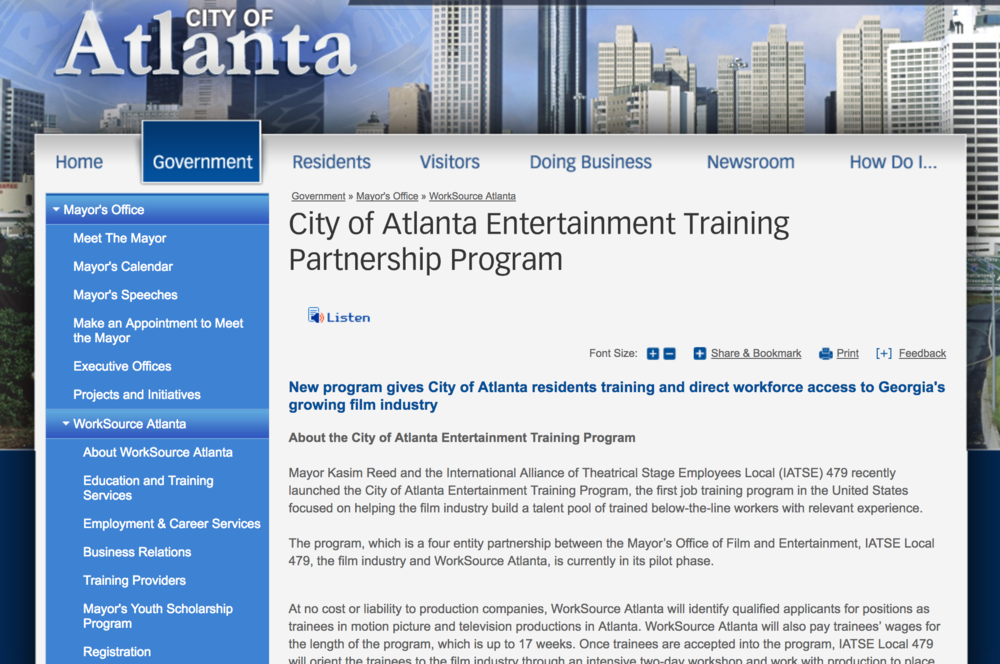 New program gives City of Atlanta residents training and direct workforce access to Georgia's growing film industry