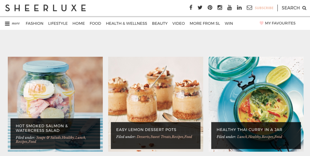 sheerluxe homepage - Featured Recipes -  August '17