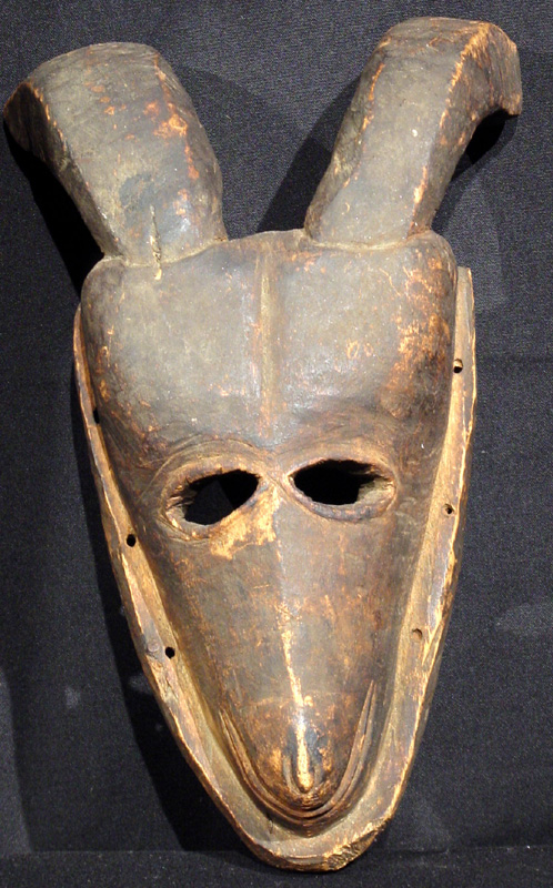 A hunting society goat mask, Ibo tribe (Igbo), Nigeria. 19th century.