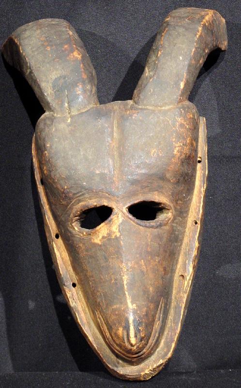 A hunting society goat mask, Ibo tribe (Igbo), Nigeria. 19th century.