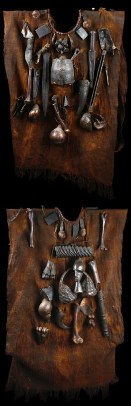 Fetish tunics worn by hunters, Cameroon or Mali. 20th century.