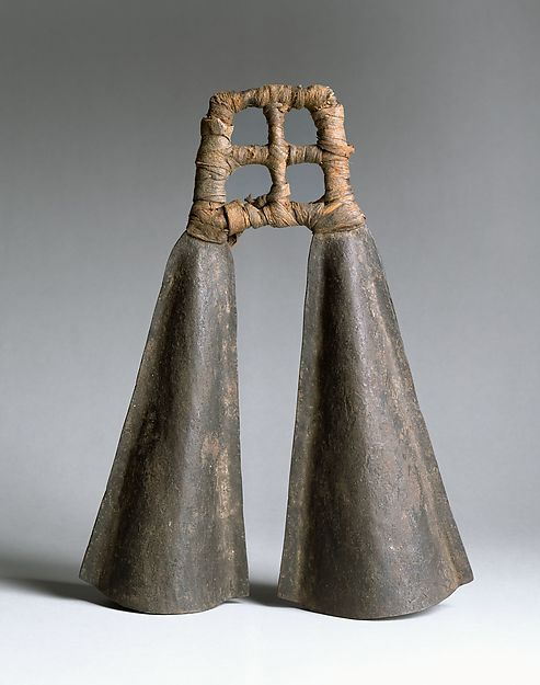 Double Bell, Cameroon. Iron. Late 19th century. Height: 33 cm (13 in.); Diam. of each: 6.4 cm (2-1/2 in.).