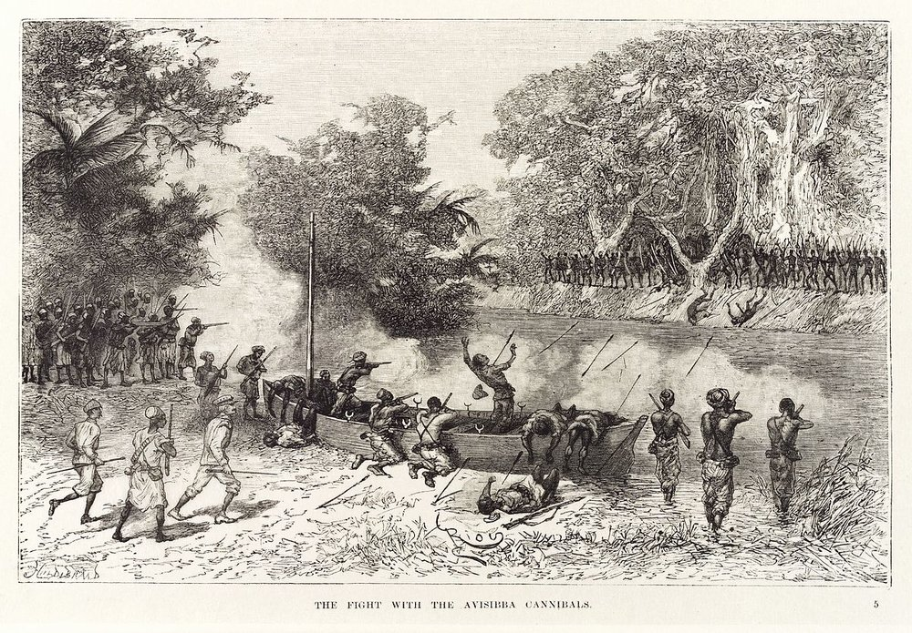 """The Fight With The Avissiba Cannibals""  from Henry Morton Stanley's  ""In Darkest Africa""  (1891)"