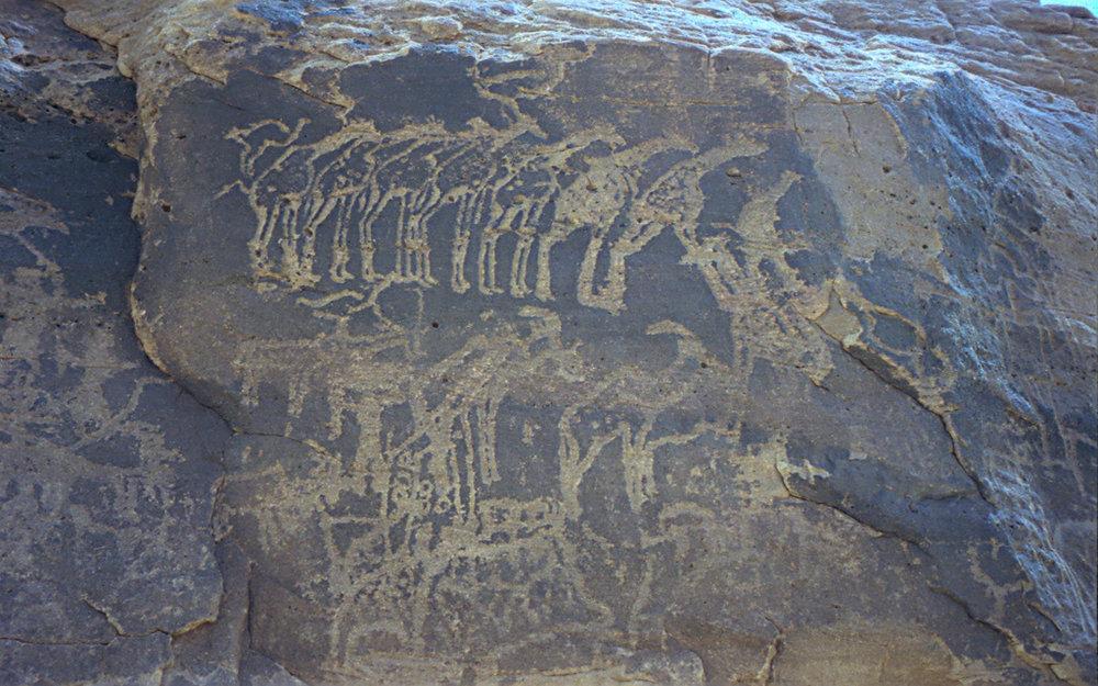 Prehistoric rock art at Tiguidit, Agadez Province, Niger.