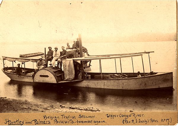 A Belgian trading steamer on the upper Congo River in 1890.