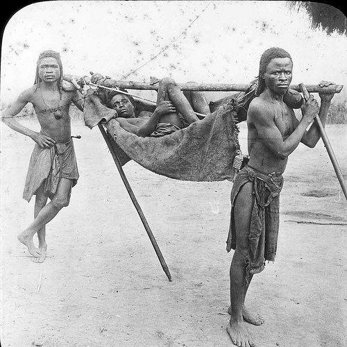 Above: hammock travel in Angola, ca. 1900.