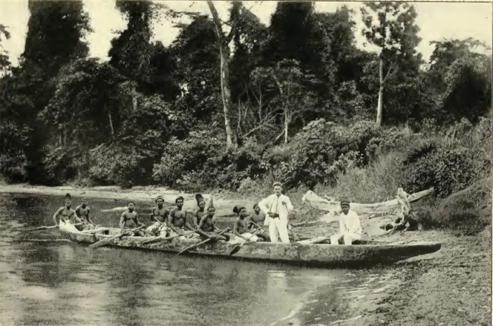 Traveling by canoe on the Ogowe river of Gabon.
