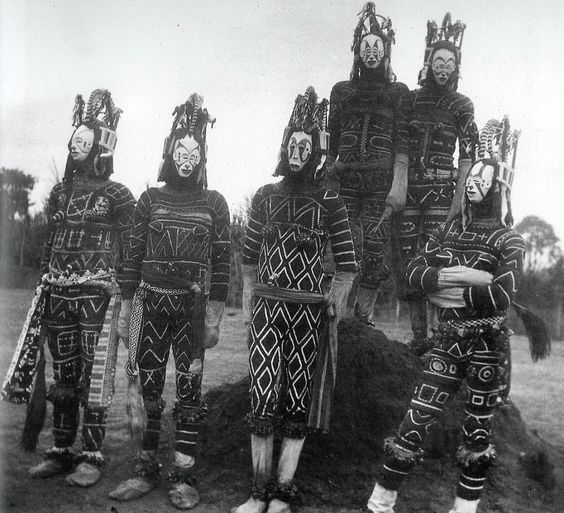 "Igbo ""maiden spirit"" masks (Agbogho Mmuo) in Cameroon or Nigeria."
