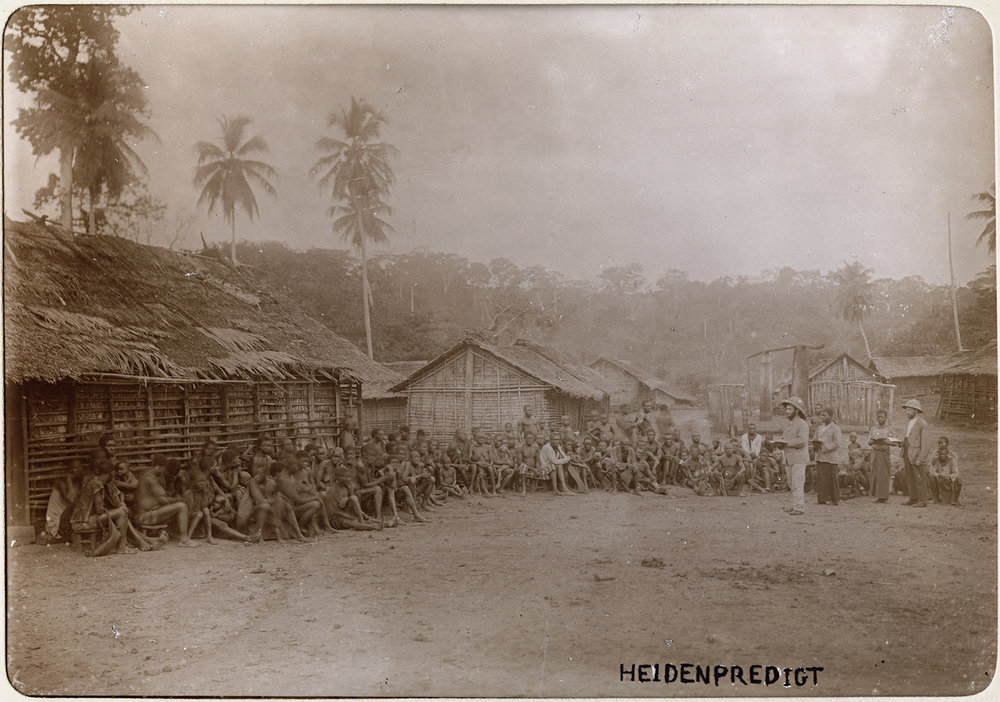 Preaching Christianity in a Cameroon village,1910.