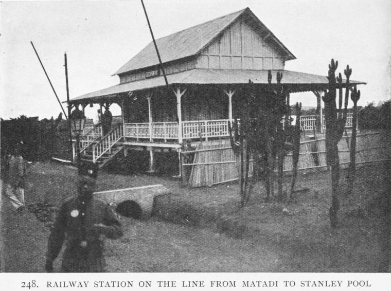 Above: railway station on the line from Matadi to Stanley Pool, 1891.