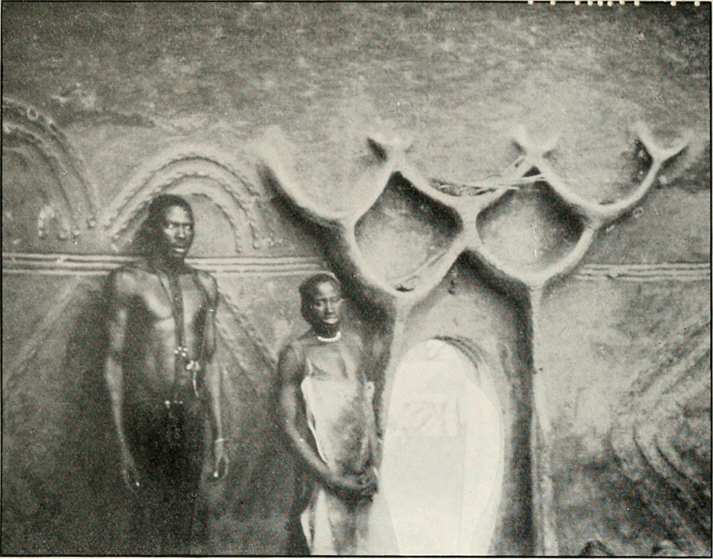 Interior of house at Musgum in Cameroon, circa 1912.