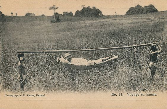 Travel by hammock in French Congo.