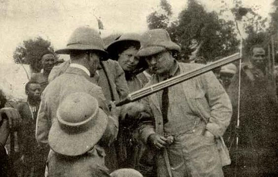 Theodore Roosevelt in Africa in 1909 collecting specimens for the Smithsonian Institution.
