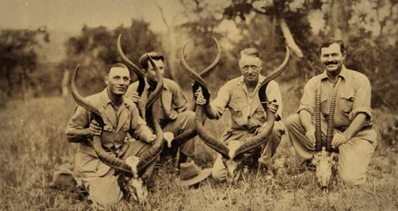 Ernest Hemingway on safari in Africa in the 1930s.