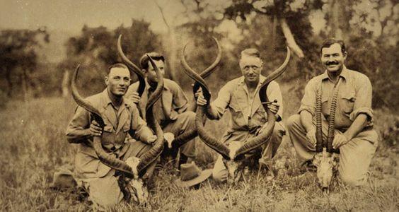 Ernest Hemingway on safari in Africa in the 1930s.