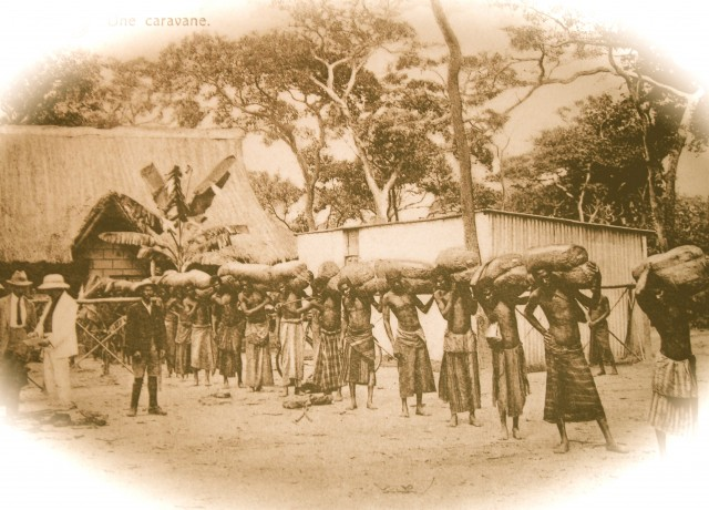 A train of porters about to depart in the Belgian Congo, c. 1900.