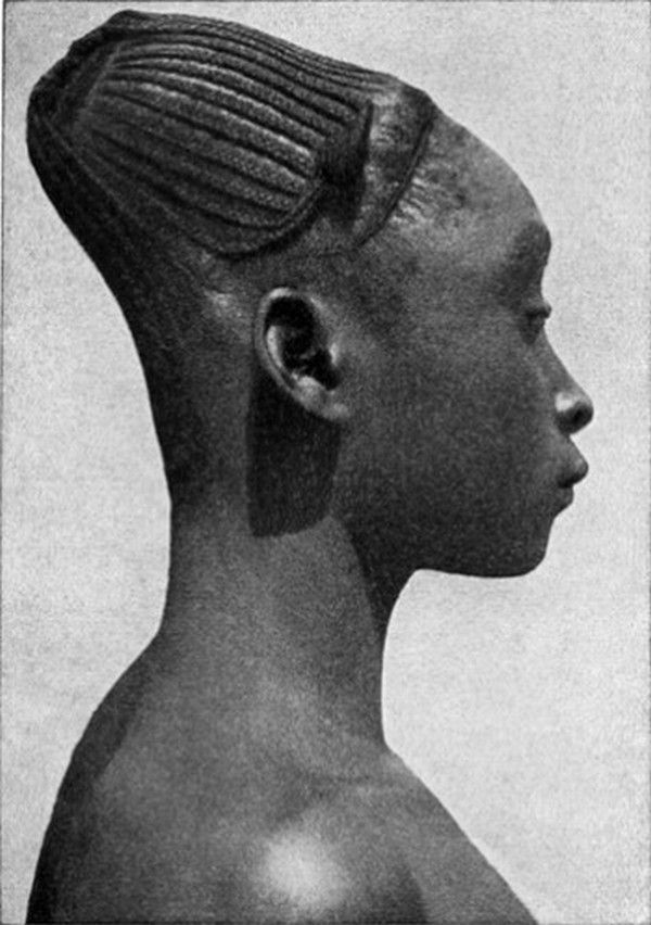 A woman with elongated head, a former practice of the Mangbetu tribe of Congo.