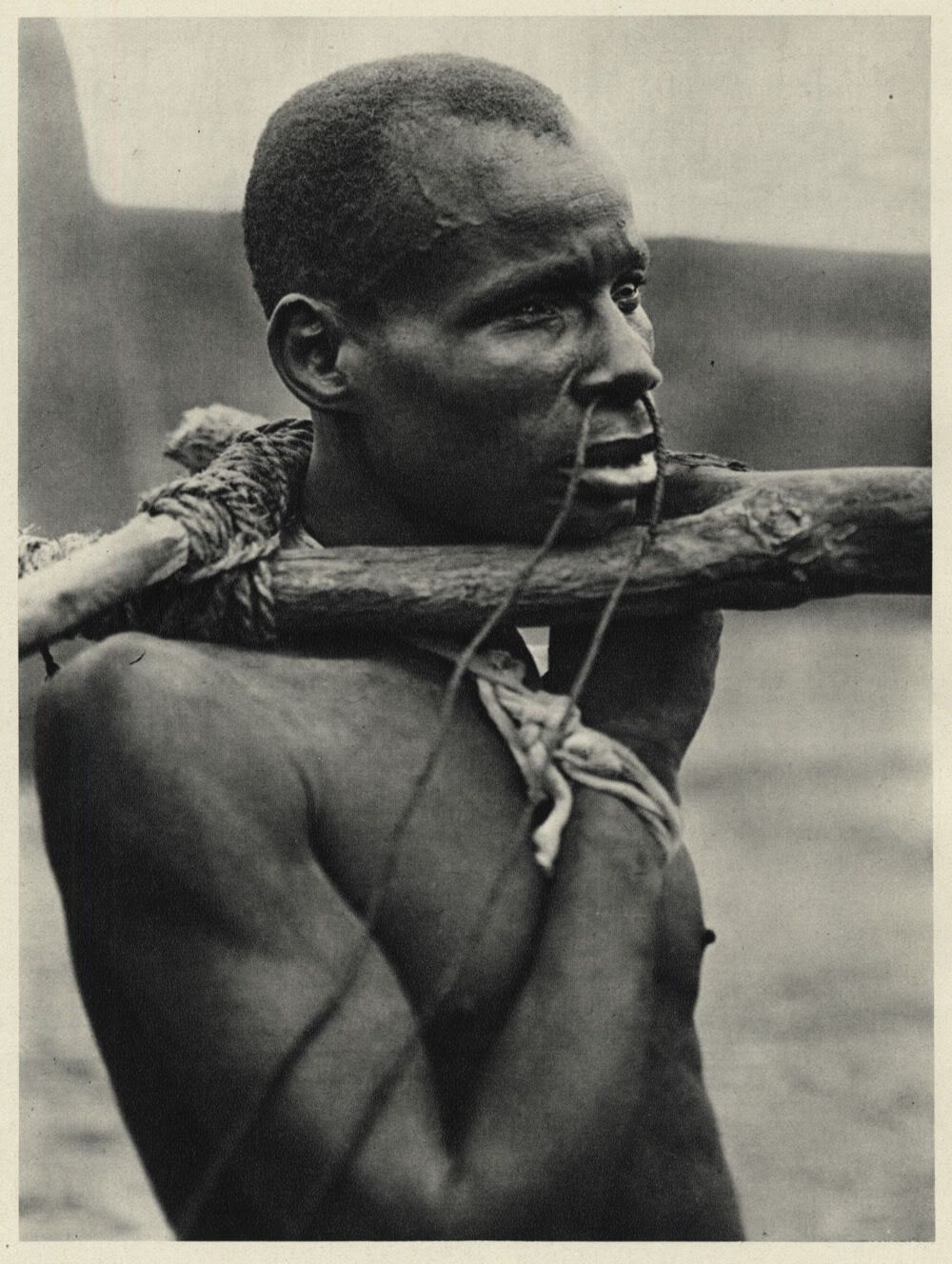 A Kotobo (wood yoked slave) in Chad, 1930.