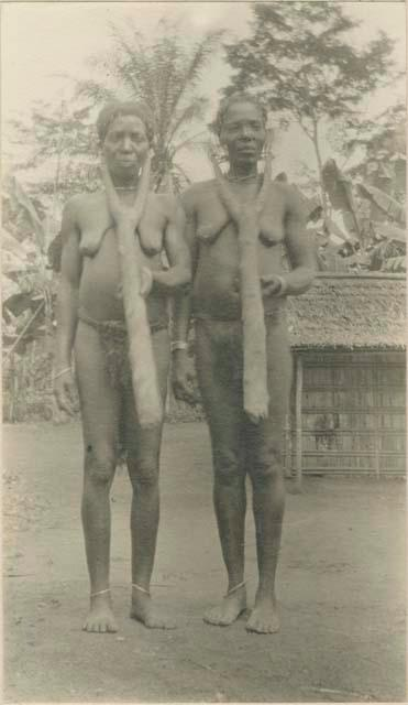 Two women given in pawn on their husband's debt. Cameroon, 1929.