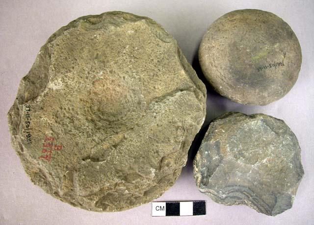 Neolithic hammerstones made of indurated shale, found in Nioro region, upper Senegal.